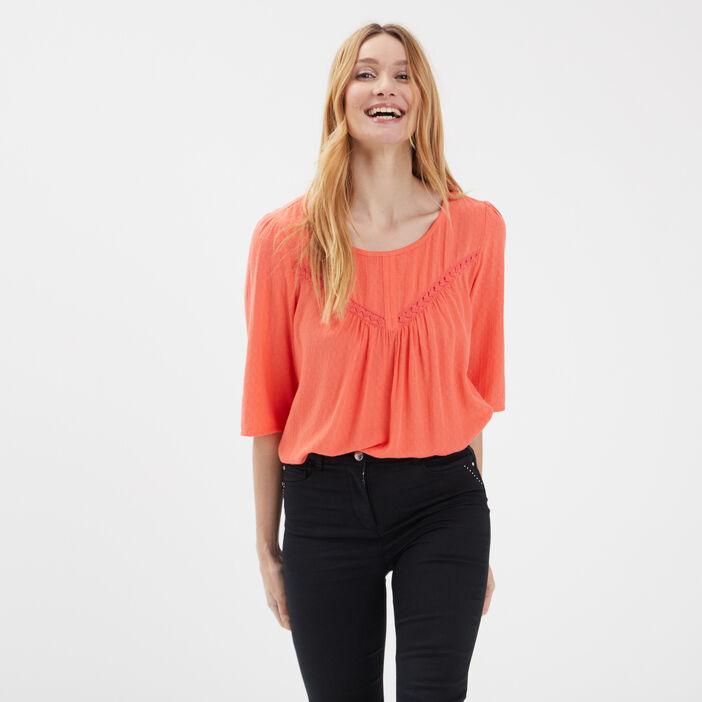 Blouse manches 3/4 orange corail femme