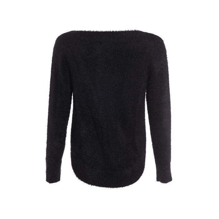 Pull tricot uni noir femme