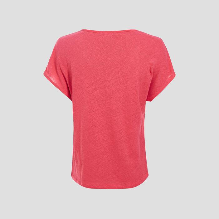 T-shirt manches courtes rose framboise femme