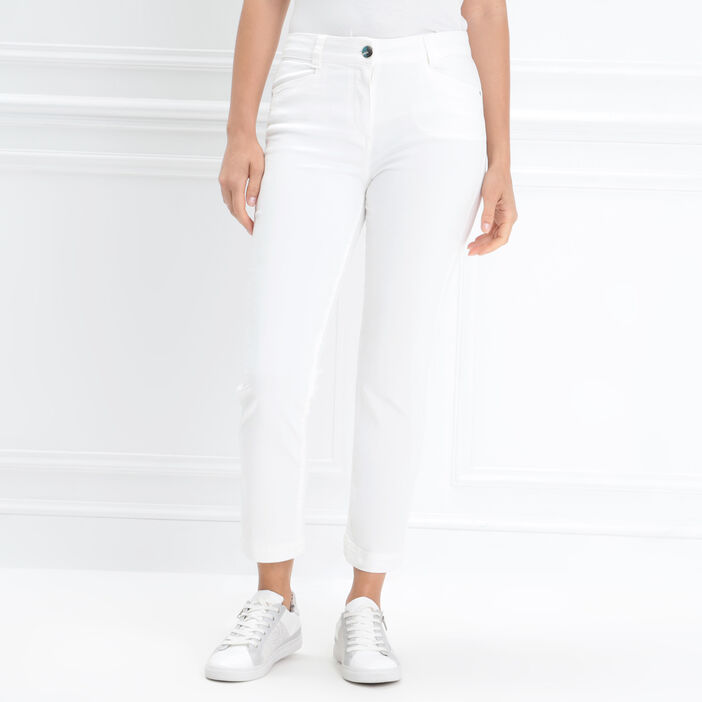Jeans 7/8ème taille standard ecru femme