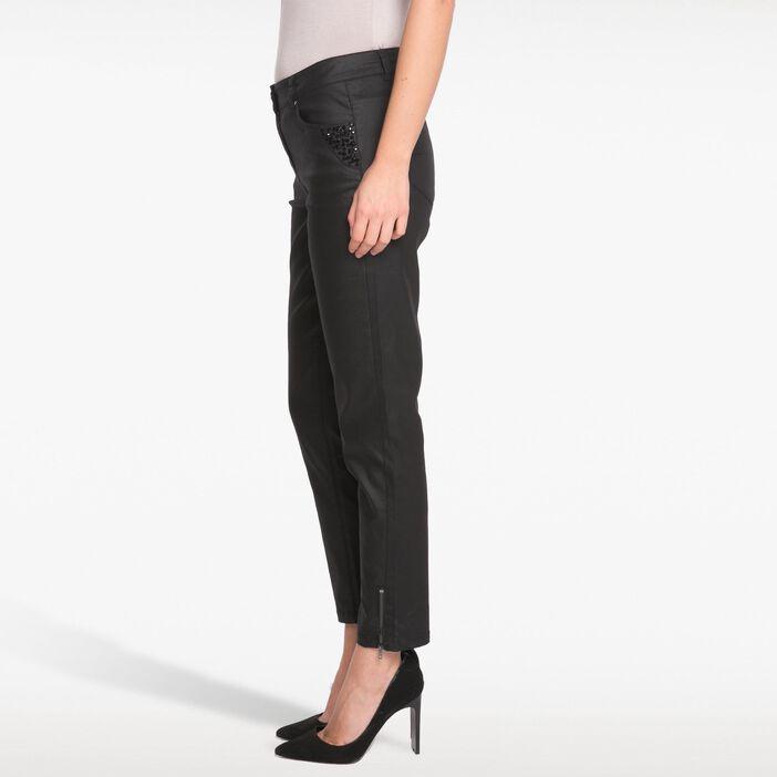 Pantalon droit uni perles noir femme