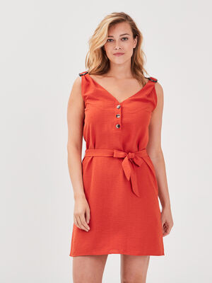 Robe droite ceinturee rouge corail femme