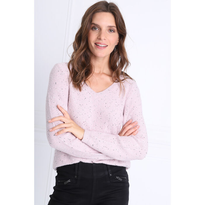 Pull manches longues sequins rose clair femme
