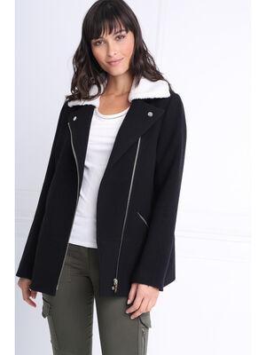 Manteau cintre col aviateur noir femme