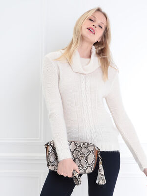 Pull manches longues col roule creme femme
