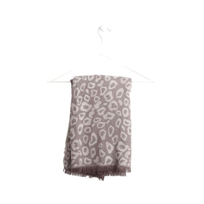 Écharpe jacquard imprimé tacheté gris foncé femme