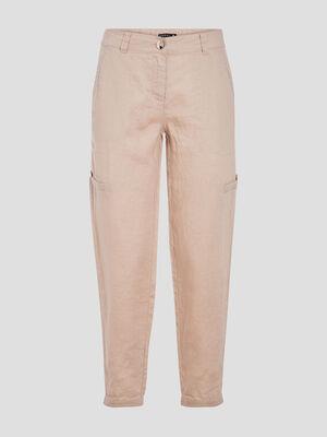 Pantalon flou taille basculee beige femme