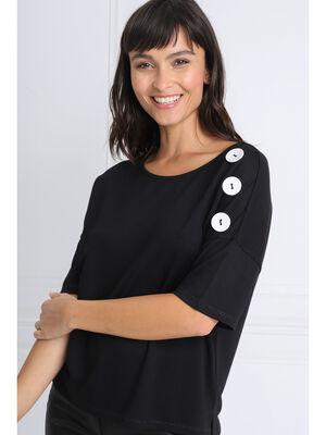 T shirt manches 34 boutons noir femme