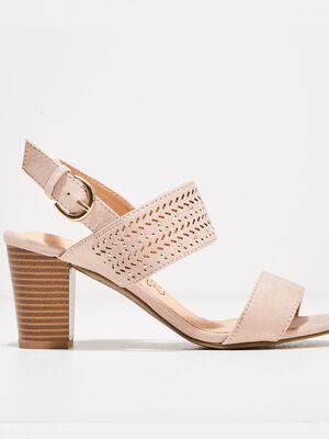 Sandales a talons bottiers rose poudree femme