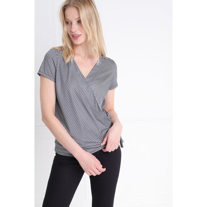 T-shirt manches courtes noué ecru femme