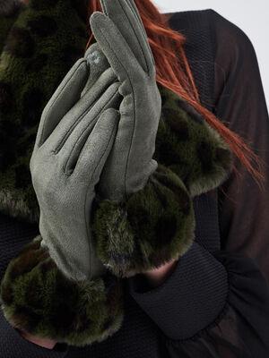 Gants avec fausse fourrure vert kaki femme