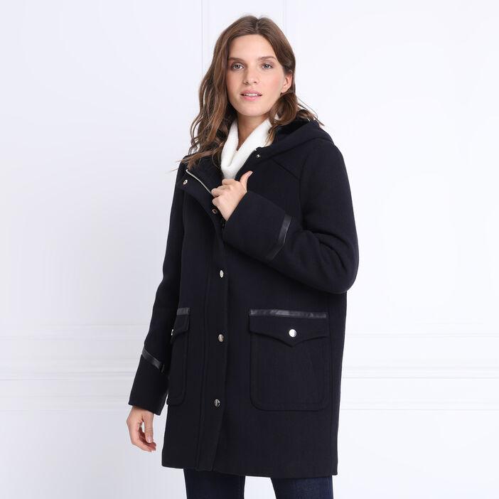 Manteau droit à capuche bleu marine femme