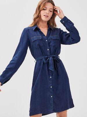 Robe droite ceinturee en jean denim brut femme