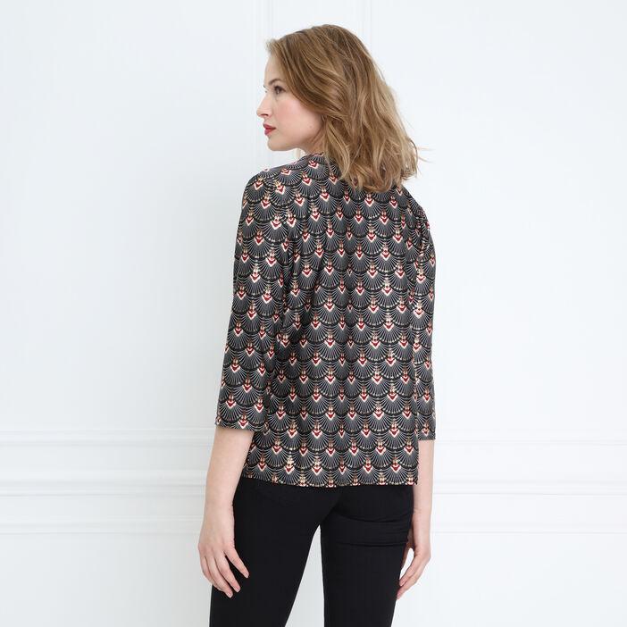 T-shirt manches 3/4 col en V noir femme