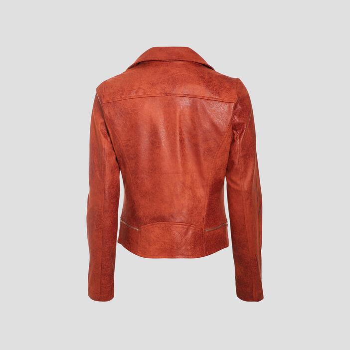 Veste esprit motard zippée orange foncé femme