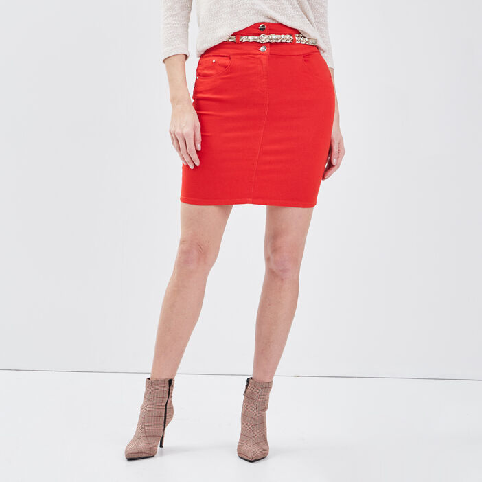 Jupe ajustée ceinture foulard rouge femme
