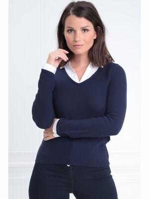 Pull manches longues 2 en 1 bleu marine femme