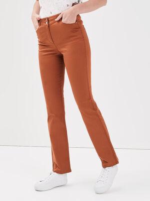 Pantalon droit taille haute marron cognac femme