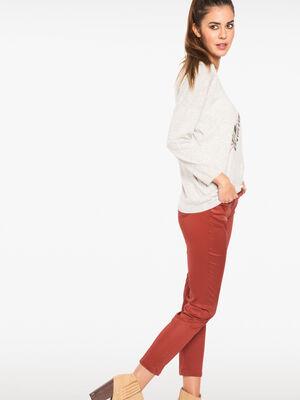 Pantalon enduit 78eme marron fonce femme