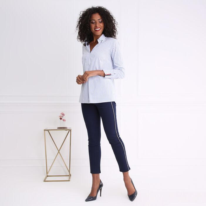 Chemise col français rayée avec message bleu gris femme