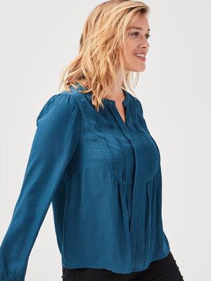 Blouse manches longues bleu petrole femme