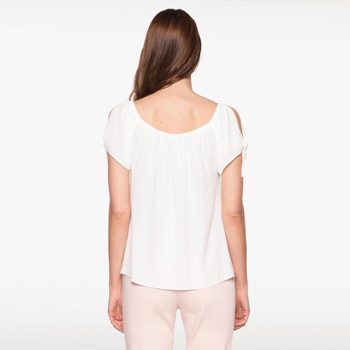 Chemise manches courtes nouée manches ecru femme