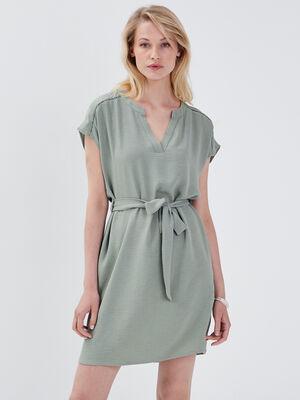 Robe droite ceinturee vert clair femme