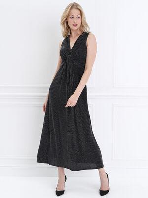 Robe longue evasee effet noue noir femme