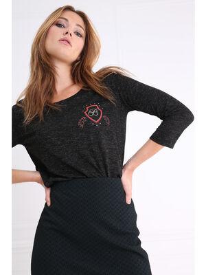 T shirt manches 34 blason poitrine noir femme