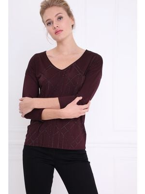 T shirt manches 34 strasse prune femme