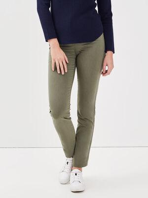 Pantalon ajuste details zip vert kaki femme