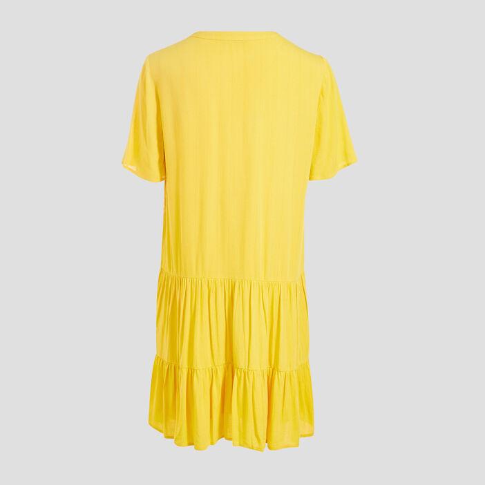 Robe évasée fluide à volants jaune femme