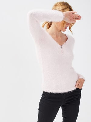 Pull manches longues rose clair femme