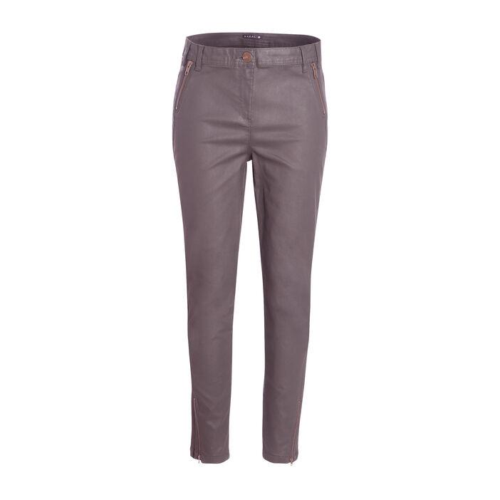 Pantalon 7/8ème enduit zippé vert foncé femme