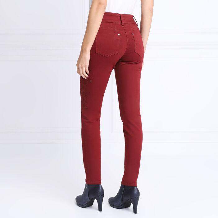 Pantalon ajusté à broderie rouge foncé femme