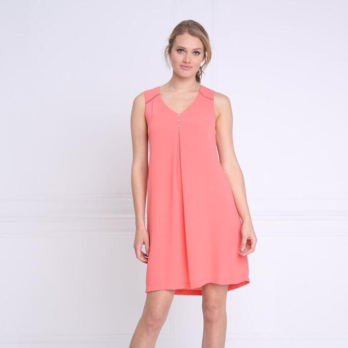Robe courte fluide col en V orange corail femme