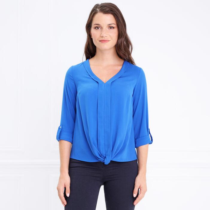 chemise col en v maille unie bleu roi femme vib 39 s. Black Bedroom Furniture Sets. Home Design Ideas