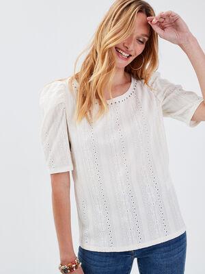 T shirt manches courtes beige femme