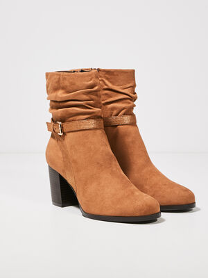Bottines a talons plissees orange fonce femme