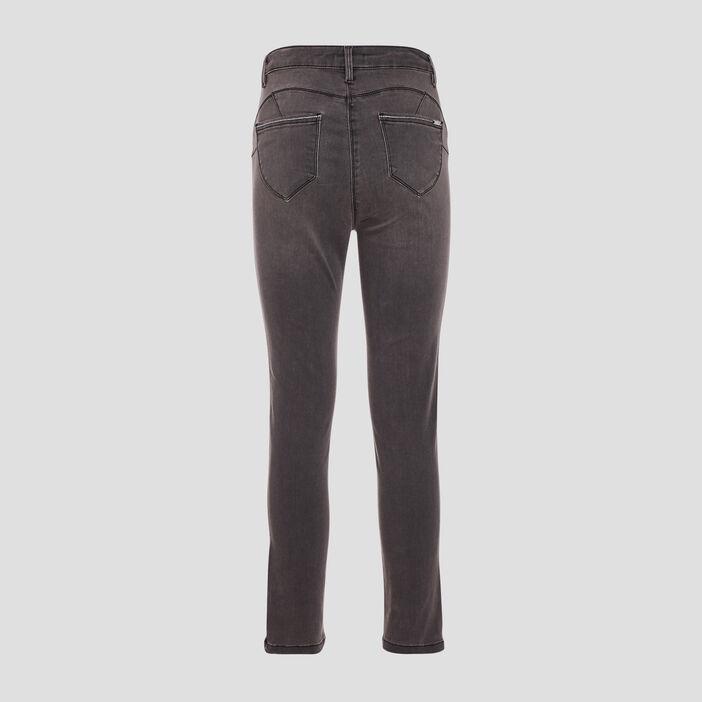 Pantalon ajusté taille haute gris femme