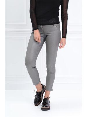 Pantalon ajuste detail zippe gris femme