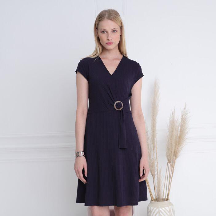 Robe courte droite à boucle bleu marine femme