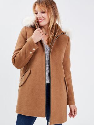 Manteau droit a capuche camel femme