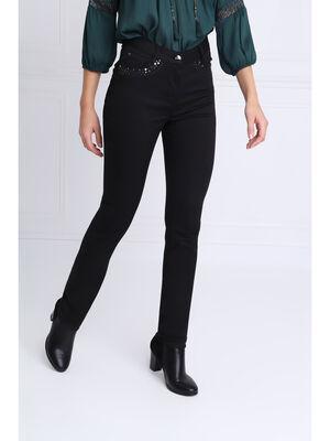 Pantalon ajuste sequins noir femme