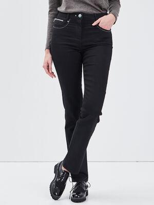 Pantalon evase taille haute noir femme