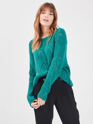 Pull manches longues ajoure vert emeraude femme