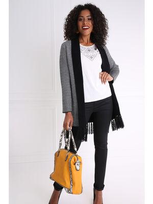 Pantalon taille haute ajuste enduit noir femme