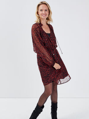 Robe evasee a taille smockee noir femme