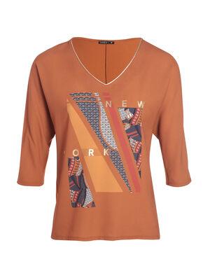 T shirt manches 34 col en V marron femme