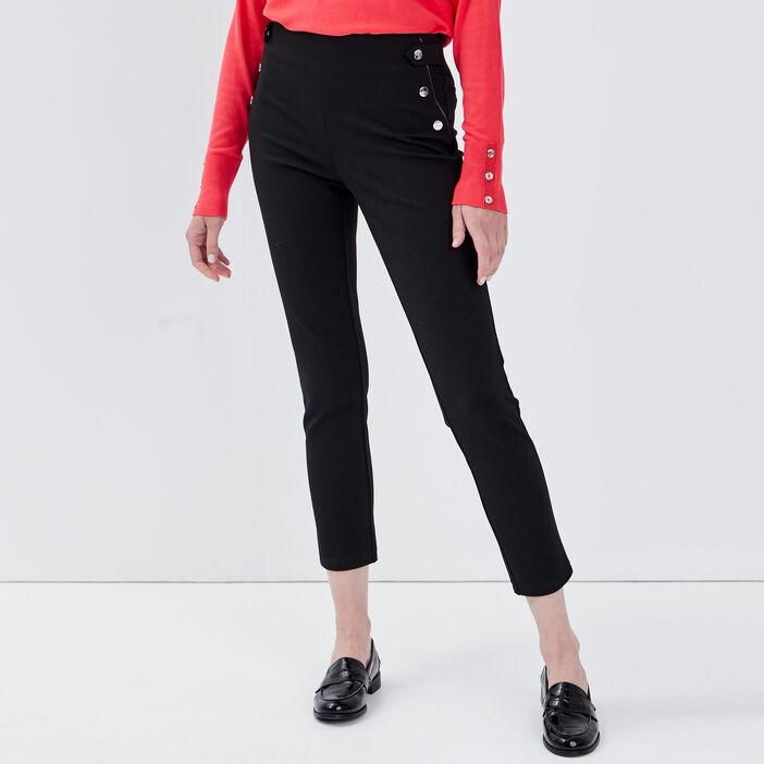 Pantalon tregging taille basculée noir femme